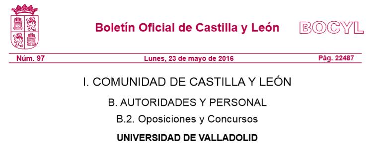 Convocatoria plaza de profesor contratado doctor en la Universidad de Valladolid